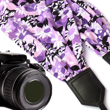 Violet scarf camera strap. Flowers Camera Strap. Camera accessories. Camera strap for Canon, Nikon, Fuji & other cameras. Graet gift.