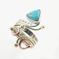 Turquoise Fancy Cut Three Tone Sterling Silver Adjustable Ring