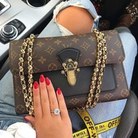 LV Louis Vuitton Fashionable Women Leather Metal Chain Handbag Tote Shoulder Bag Crossbody Satchel I/A