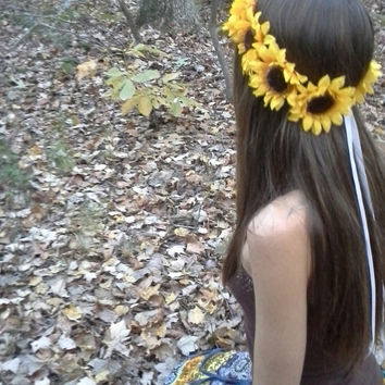 Sunflower Crown, Big Sunflower Headband, Yellow Sunflowers, Sunflower Halo, Sunflower Hair wreath, Sunflower Headpiece, Fall Flower crown