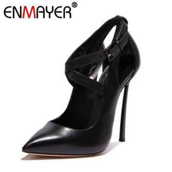 ENMAYER Women Pumps Extreme High Heels Cover Heel Buckle Classic Black Pointed Toe Sum