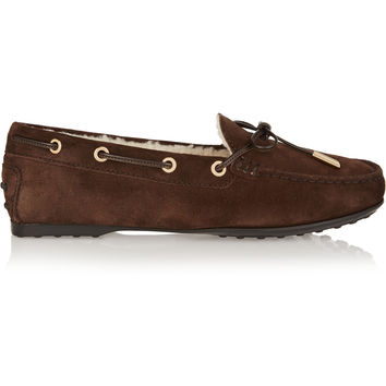 Tod's - Shearling-lined suede loafers