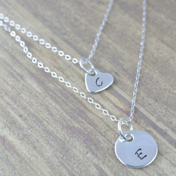 Simple Sterling Silver Initial Layered Interchangable Necklace- Circle and Heart Charms, Minimal Every Day Jewelry by Miss Ashley Jewelry