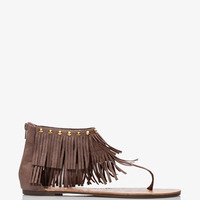 Faux Suede Fringe Thong Sandals