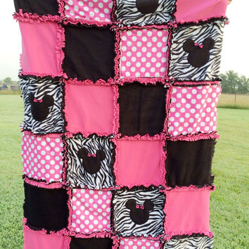 Minnie Mouse like Crib Rag Quilt- Made to Order Personalized