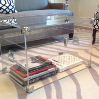 Clear Lucite Trunk   28long X 18 X 18 In 1/2 Clear Polished Lucite & Silver Accents   Fully Customizable