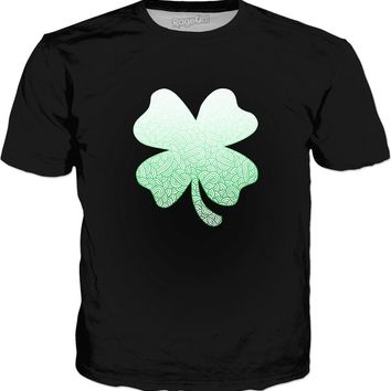 Gradient green and white swirls doodles Shamrock Classic T-shirtBlack