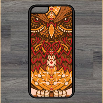 Owl Orange Tribal Print Design Art iPhone 4 / 4s / 5 / 5s / 5c /6 / 6s /6+ Apple Samsung Galaxy S3 / S4 / S5 / S6