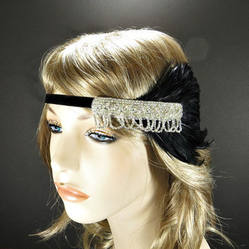 Silver 1920's Headpiece Flapper Headband Great Gatsby Wedding Hair Accessories Costume Black Feather & Rhinestone Beaded Headband
