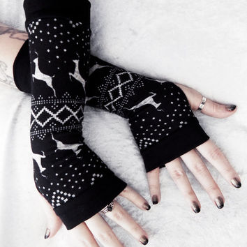 Snow Dance Arm Warmers | Fair Isle Black Light Heather Grey Deer Sweater Knit Nordic | Boho Cycling Festive Gloves Gothic Goth Ski Mori Girl