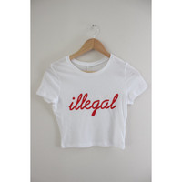 Illegal Graphic White Crop Top