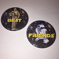 Star Wars Inspired C-3PO and R2-D2 Best Friends Button Set