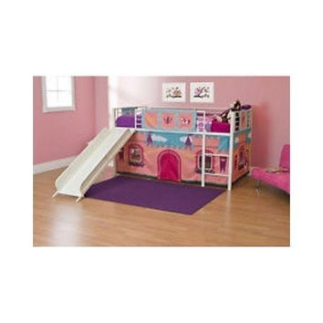 Princess Loft Bed With Slide and Curtain