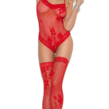 Lace Halter Teddy and Stockings