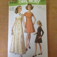 Vintage 1960s Women's Dress Sewing Pattern Simplicity 8498