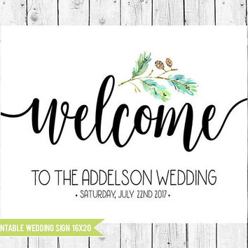 Forest Wedding Welcome Sign, Forest Wedding Sign, 16x20 Printable Wedding Sign, Forest Wedding Decor, PRINTABLE FILE