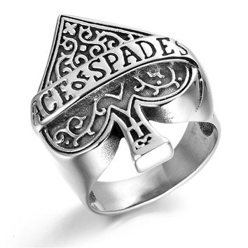 Stainless Steel Mens Ace of Spade Ring KR0665