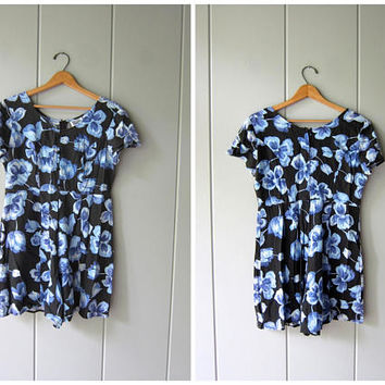 Vintage Floral Romper 90s Black Blue Floral Culottes Shorts Jumper Flower Print One Piece Shorts Top Boho Rayon Romper Womens Small Medium
