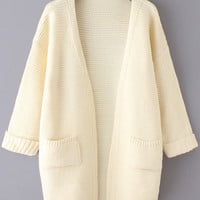 Beige Dual Front Pockets Knitted Loose Fitting Cardigan