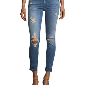 Mother Denim Looker Mid-Rise Distressed Frayed Ankle Jeans