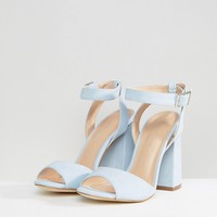 New Look Suedette Ankle Wrap Around Block Heel at asos.com