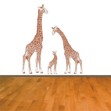 Giraffe Family Wall Decal Mother Looking Down, Father and Baby Looking Up Nursery Wall Art Decor for the Home