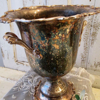 Large loving cup trophy style French farmhouse aged patina silverplate beautiful romantic engraving ornate home decor anita spero design