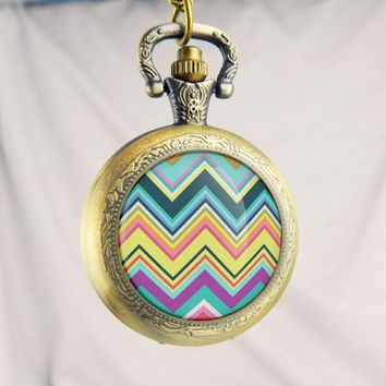 Colorful Chevron Watch Pocket Watch,Sunflower Pendant , Sunflower Necklace,Jewelry ,Pocket Watch