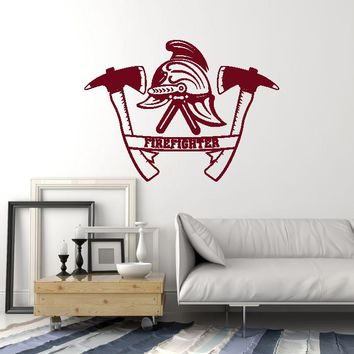 Vinyl Wall Decal Firefighter Helmet Axes Fire Dept Decor Art Stickers Mural (ig5608)