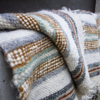 Scandinavian Wool Blanket/ Organic Sheep Plaid/ Handmade  Throw Bedding/ Striped Rustic Artisan Rug/ Three Snails/ Free Shipping!