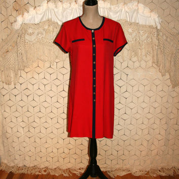 7dad37fd2d0c Red Day Dress Large Midi Dress Petite Vintage Dress Short Sleeve Dress  Loose Fit Jessica Howard