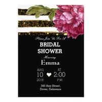 Pink Peony Floral Stripe Bridal Shower Card