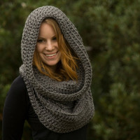 Oversized Hooded Cowl, Gray, Christmas in July Sale, CIJ