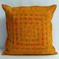 "16"" Orange Ethnic Indian Decorative Cushion Pillow Cover Mirror Work Embroidery"