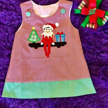 B & A  Adorable Christmas Red/Green Elf On The Shelf Applique  Dress
