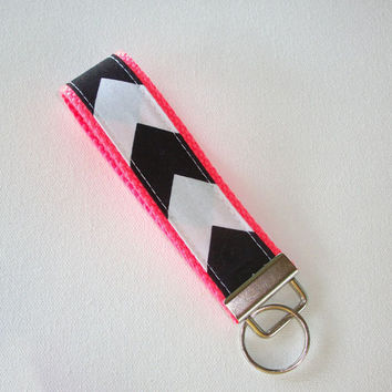 Key FOB / KeyChain / Wristlet  - Black and white Chevron - Zig Zag on neon coral