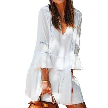 2017 Women Boho V Neck Hollow Out Patchwork Mini Dress Summer Vestido Loose 3/4 Flare Sleeve White Casual Beach Short Sundress