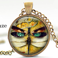 Dragonfly Steampunk Pendant Steampunk Art Pendant Necklace Jewelry Animal lover gifts green yellow white wings