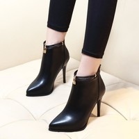 2017 Pointed Toe Sexy High Heels Ankle Boots For Women Autumn Winter Fashion Party Dress Thin Heel Short Boots Shoes CH-A0010
