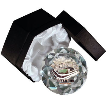 MLB Detroit Tigers, Old Tiger Stadium 4-Inch High Brillance Diamond Cut Crystal Paperweight