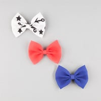Full Tilt 3 Piece Bow Hair Clips Red One Size For Women 25809230001