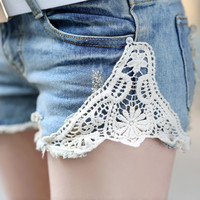 with belt Lace hole shorts