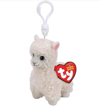 "Ty Beanie Boos Big Eyes Lily The White Sheep Alpaca Keychain Toy Doll With Original Tag 4"" 10cm"