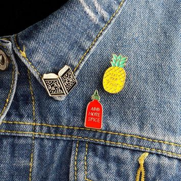 Trendy 3pcs/set Cartoon Book Pineapple ADD MORE SPICE Brooch Pin Denim jacket Sweater Coat Icon Pins Badge For Girl Women Men Jewelry AT_94_13
