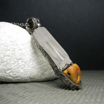Jewelry by AMW - Raw Baltic Amber and Quartz Crystal Necklace - Huge Natural Stone Necklace - Gemstone Necklace - Tiffany Technique