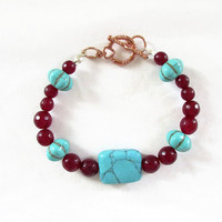 Semi precious gemstone bracelet, turquoise and ruby quartz bracelet with rose gold clasp, bright gemstone bracelet, handmade in the UK