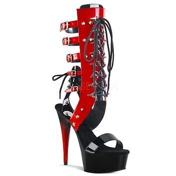 "Delight 600-38 Black Red Patent 6"" High Heel Gladiator Knee Boots"