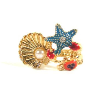 Mermaid Ring Size 6.5 Gold Star Fish Sea Shell Crab Nautical Ocean Fashion Jewelry