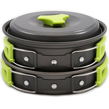 Camping Cookware Mess Kit Backpacking Gear & Hiking Outdoors Bug Out Bag Cooking Equipment 10 Piece Cookset | Lightweight, Compact, & Durable Pot Pan Bowls - Free Folding Spork, Nylon Bag, & Ebook