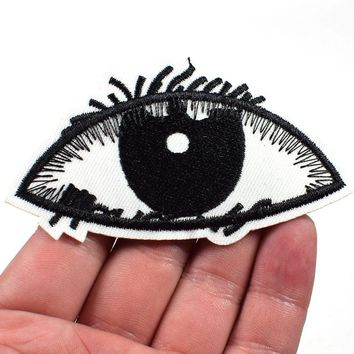 White Eye eyeball tattoo wicca occult goth punk retro applique iron on patch